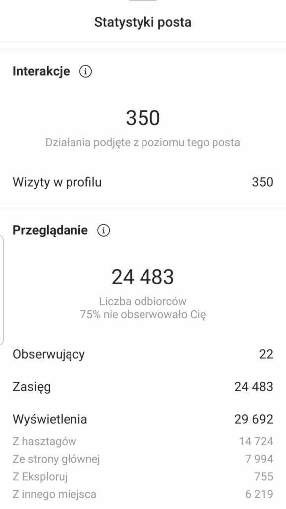 instagram statystyki post zasięg