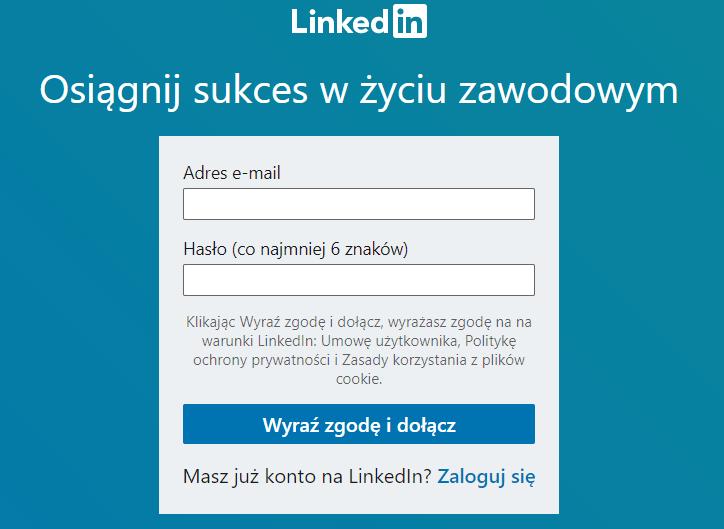 linkedin rejestracja