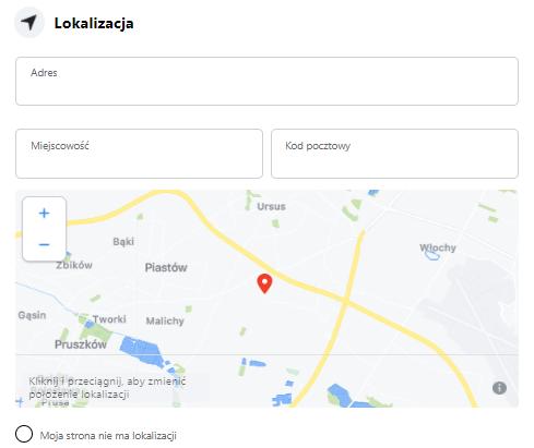 lokalizacja firmy fanpage